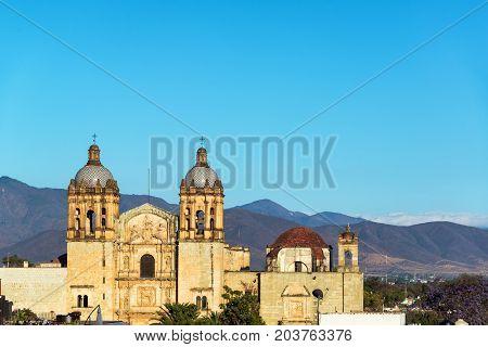 View of historic Santo Domingo church in Oaxaca Mexico