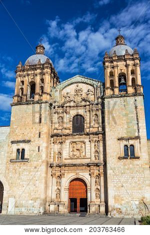 Vertical view of Santo Domingo church in Oaxaca Mexico