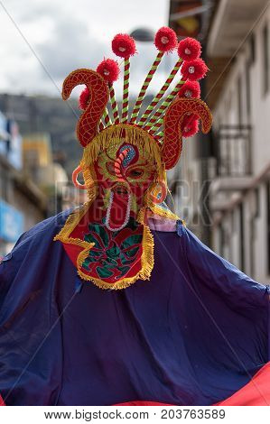 June 17 2017 Pujili Ecuador: colorful indigenous mask worn during the Corpus Christi festival dances in the Andean town