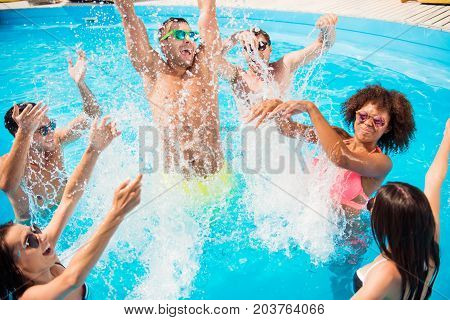 Go Crazy In The Water! Splitting And Go Insane! Crazy Tourists Are Enjoying At The Pool Sunny Beach