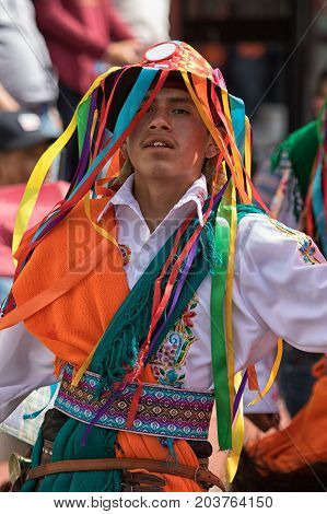 June 17 2017 Pujili Ecuador: colorful indigenous hat with strings worn during the Corpus Christi festival dances in the Andean town