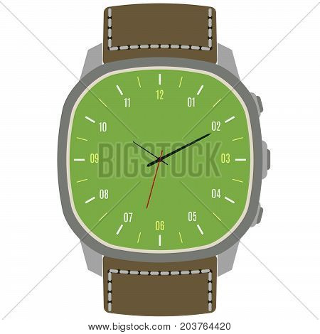 Classic design mechanical wristwatch isolated on white background. Clock face with hour, minute and second hands. Vector illustration.