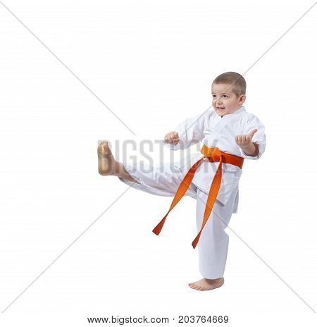 Child is training blow leg on the white background