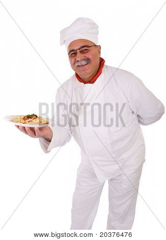 Italian chef with spaghetti pasta