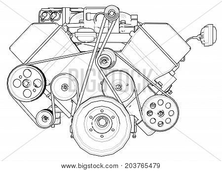 Powerful car engine. The engine is drawn with black lines on a white background