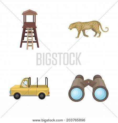 Observation tower for the hunter, leopard, hunting machine, binoculars. African safari set collection icons in cartoon style vector symbol stock illustration .