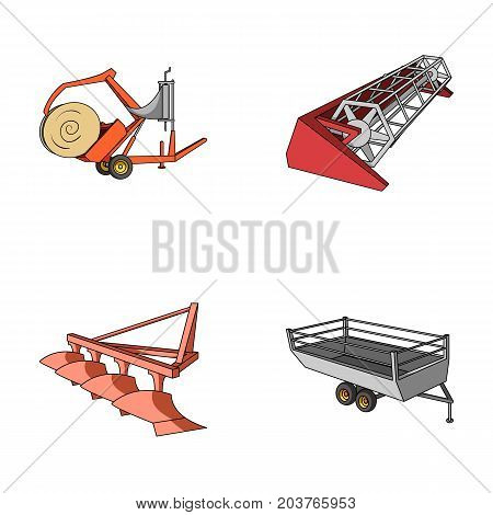 Plow, combine thresher, trailer and other agricultural devices. Agricultural machinery set collection icons in cartoon style vector symbol stock illustration .