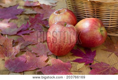 Red apples and autumn leaves on a wooden surface
