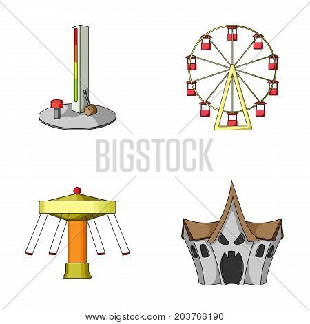 The device with a bat for measuring strength, a ferris wheel, a carousel, a house with windows. Amusement park set collection icons in cartoon style vector symbol stock illustration .