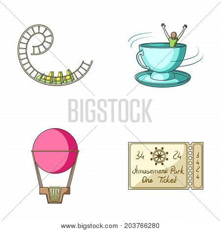 Roller coaster ride, balloon with basket, caruelle cup, ticket to the entrance to the park. Amusement park set collection icons in cartoon style vector symbol stock illustration .