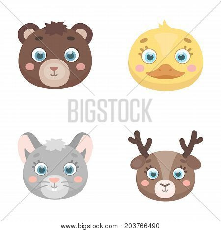 Bear, duck, mouse, deer. Animal's muzzle set collection icons in cartoon style vector symbol stock illustration .
