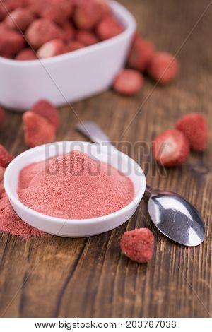 Fresh Made Strawberry Powder On A Rustic Background
