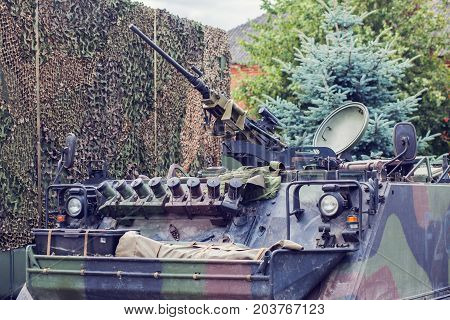 m2 browning machine gun on M113 armored personnel carrier