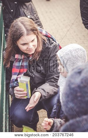ALSDORF GERMANY - DECEMBER 27 2016: Unidentified woman holding animal food at the Alsdorfer Tierpark