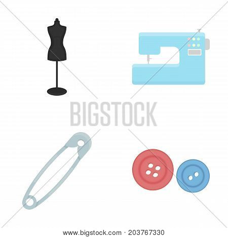Electric sewing machine, dummy on the stand, pin, buttons.Atelier set collection icons in cartoon style vector symbol stock illustration .