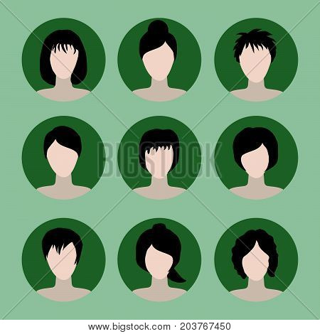 collection of icons of woman in a flat style. female avatars. set of images of young women. vector illustration. faces of girls. woman avatar set.