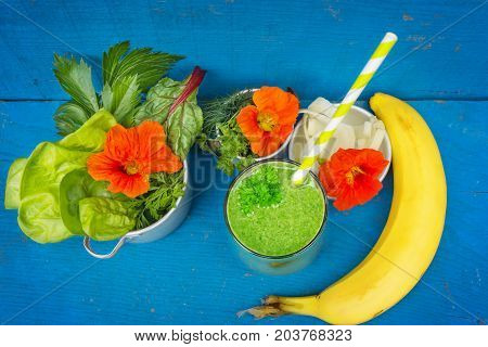 A Green smoothie with chard lettuce banana