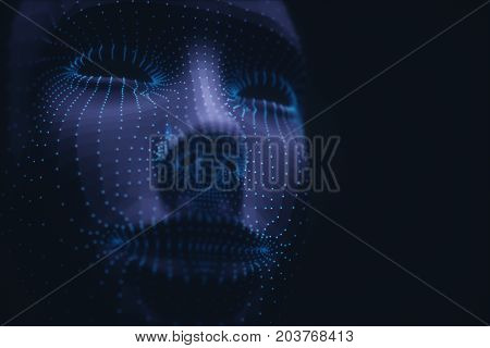3D illustration. Stylized 3D face with polygons and points on the vertex.