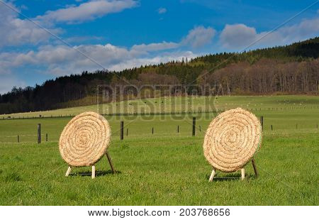 Wooden archery base mady from straws in the countryside. Beautiful spring weather with blue sky and few white clouds. Green meadows with cows and horses.