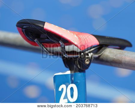 STOCKHOLM - AUG 26 2017: Saddle of a triathlon cycle in the transition zone in the Women's ITU World Triathlon series event August 26 2017 in Stockholm Sweden