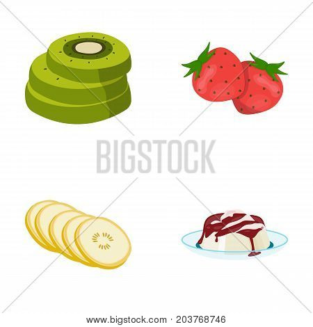 Fruits and other food. Food set collection icons in cartoon style vector symbol stock illustration .