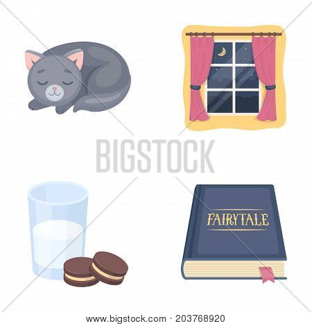 Sleeping cat, night outside the window, milk and biscuits, fairy tales. Rest and sleep set collection icons in cartoon style vector symbol stock illustration .