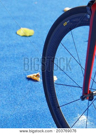 STOCKHOLM - AUG 26 2017: Triathlon cycles wheel closeup in the transition zone in the Women's ITU World Triathlon series event August 26 2017 in Stockholm Sweden