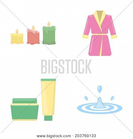 Multicolored burning candles, a pink robe with a yellow belt and a collar, a tube with cream and a jar with an ointment, a drop of water.Spa set collection icons in cartoon style vector symbol stock illustration .