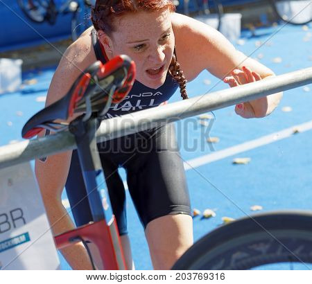 STOCKHOLM - AUG 26 2017: Triathlete Lucy Hall (GBR) change clothes in the transition zone in the Women's ITU World Triathlon series event August 26 2017 in Stockholm Sweden