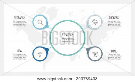 Business infographic. Organization chart with 4 options, arrows. Vector template.