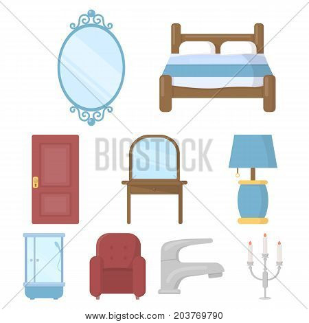 Furniture set icons in cartoon style. Big collection of furniture vector symbol stock