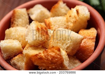 Delicious Fried Croutons In Clay Glass.clsoeup.fried Bread Cut Into Cubes
