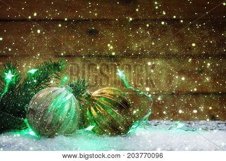 Christmas greeting card Christmas decoration with Christmas tree balls