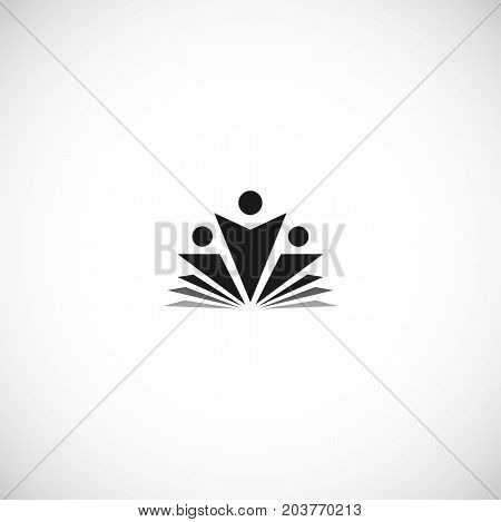 Isolated abstract black color education and learn logo, university and school book, graduate human silhouettes logotype on white background vector illustration. Teaching symbol.