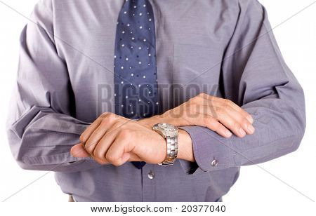 businessman checking out time