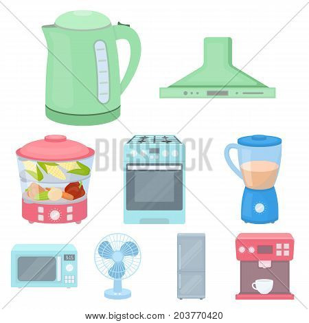 Household appliances set icons in cartoon style. Big collection of household appliances vector symbol stock