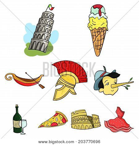 Italy country set icons in cartoon design. Big collection of Italy country vector symbol stock illustration