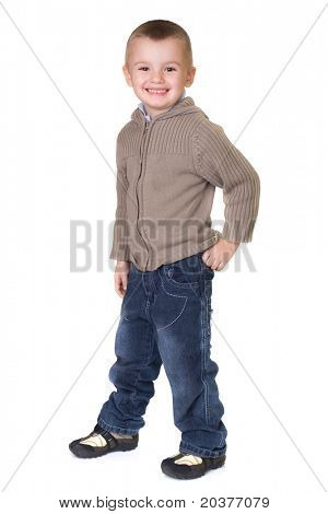 preschool boy posing in casual clothes