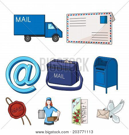 Postman, envelope, mail box and other attributes of postal service.Mail and postman set collection icons in cartoon style vector symbol stock illustration .