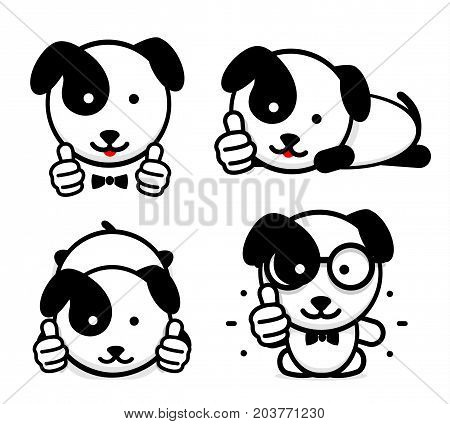 Doggies like. Isolated Puppies show their thumbs up. Simple Funny puppy shows an approving hand gesture. Black and white Vector logo and illustration set