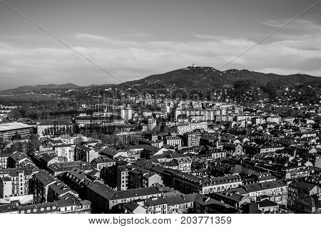 Panorama Of Turin, With Superga Hill In The Background, Turin, Italy