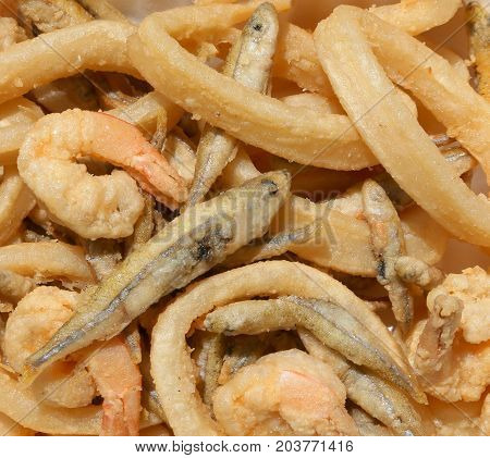 Frying Fish With Shrimp And Squid In The Restaurant