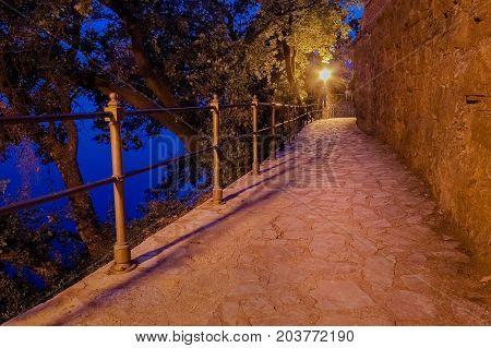 A beautiful pathway by the sea in Opatija Croatia
