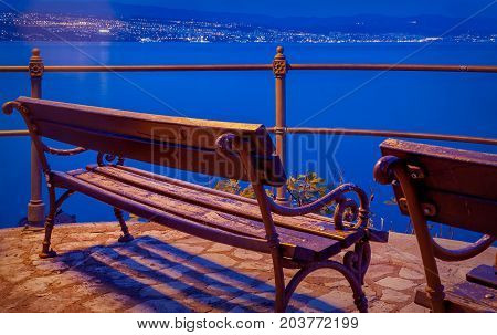 A view from Opatija to Rijeka across the sea