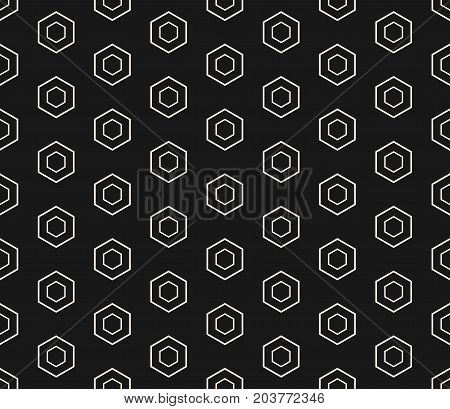 Vector monochrome hexagon seamless pattern. Repeat geometric background pattern. White linear hexagons on black backdrop. Abstract modern stylish texture. Pattern design for prints, digital, web, decoration, textile, fabric