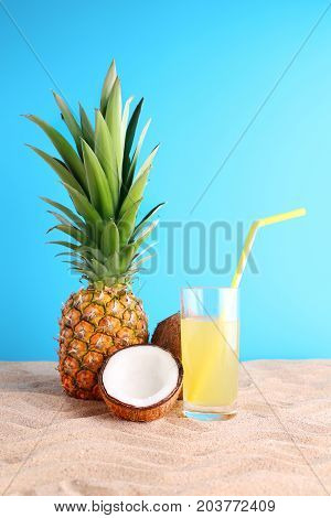 Pineapple Juice With Coconut On The Beach Sand