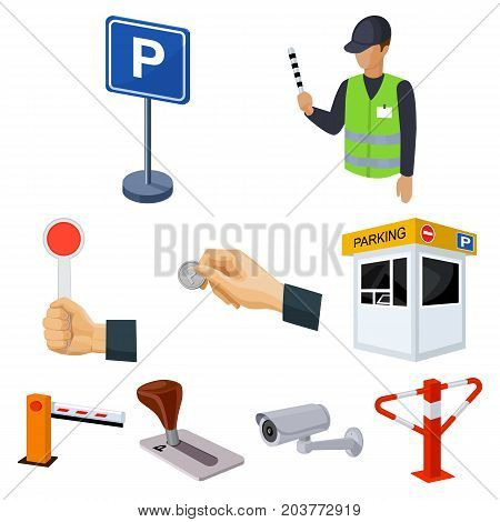 A set of icons for parking cars and bicycles. Fines and elements of parking.Parking zone icon in set collection on cartoon style vector symbol stock web illustration.