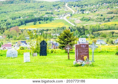 Les Eboulements, Canada - June 2, 2017: Presbytere Des Eboulements Cemetery In Charlevoix Region Of
