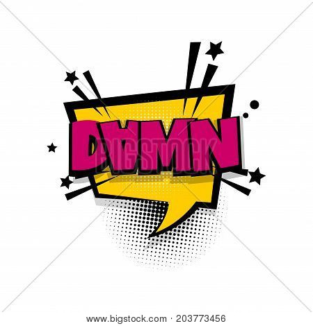 Damn, fuck, shit lettering. Comics book balloon. Bubble icon speech phrase. Cartoon font label tag expression. Comic text sound effects. Sounds vector illustration.