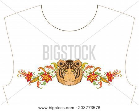 Embroidery for neckline, collar for T-shirt, blouse, shirt. Pattern of flowers and tiger. Stock vector illustration.